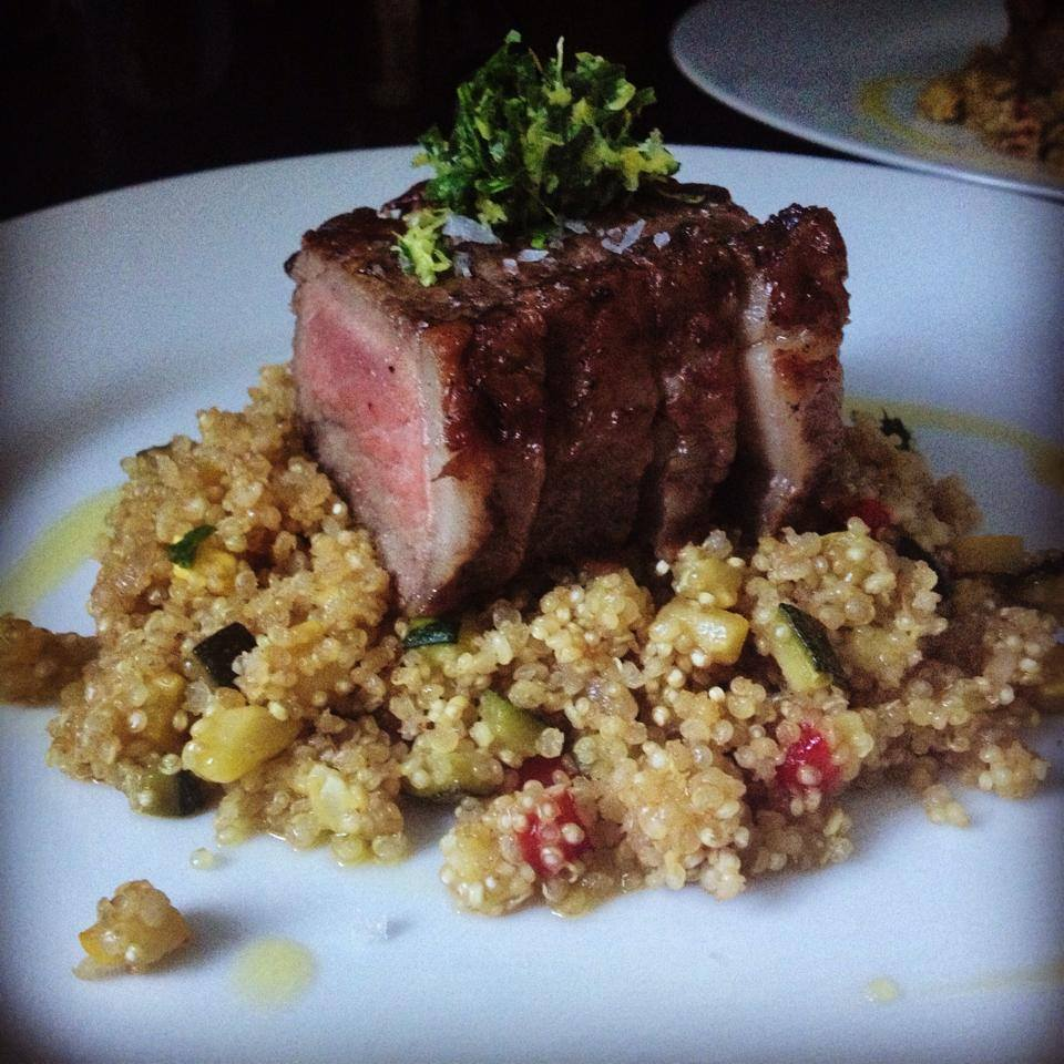 NY Strip and Veggie Quinoa
